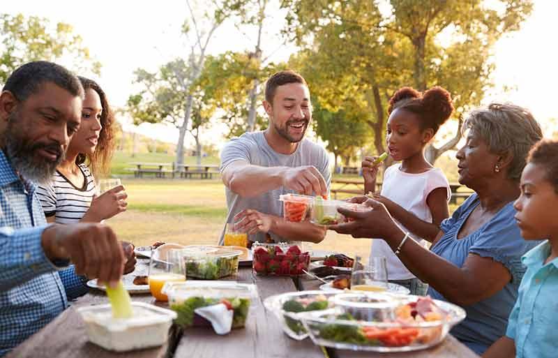 multi generational family picnic